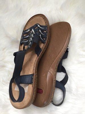 Rieker Comfort Sandals dark blue-silver-colored