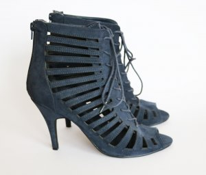 Strapped High-Heeled Sandals dark blue-slate-gray