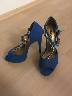 Blaue Sandaletten mit Absatz