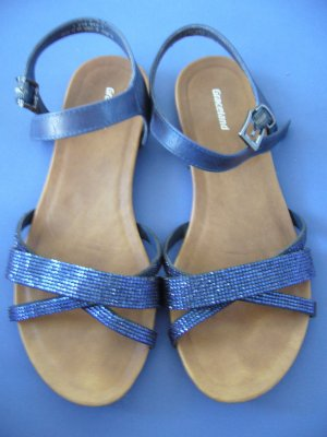 Blaue Sandaletten mit Glitzerapplikation Graceland 37