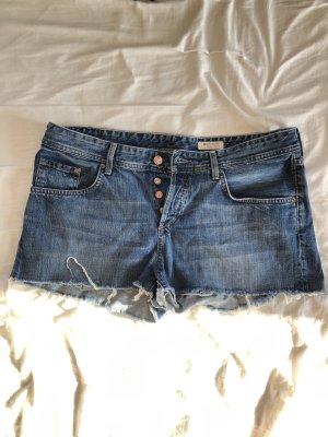 H&M Pantaloncino di jeans blu-blu scuro