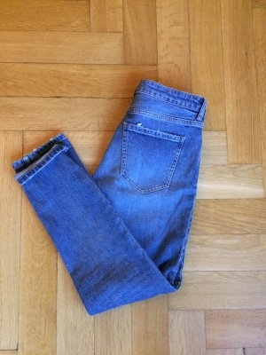 Blaue Slim Fit Jeans knöchellang