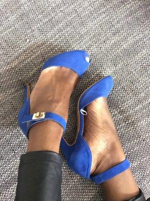 Blaue sling heels / gold peeptoe