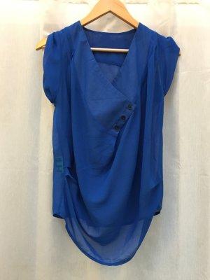 """Blaue Sommerbluse, Berliner Label """"eight"""", asymmetrisch, Gr. S, NP 35€"""
