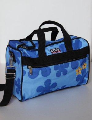 Blaue Sport-/Reisetasche mit Blumen