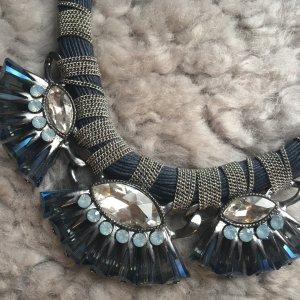 Hallhuber Collier zilver-donkerblauw