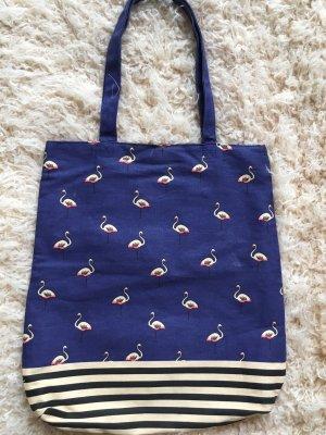 Blaue Stofftasche mit Flamingos