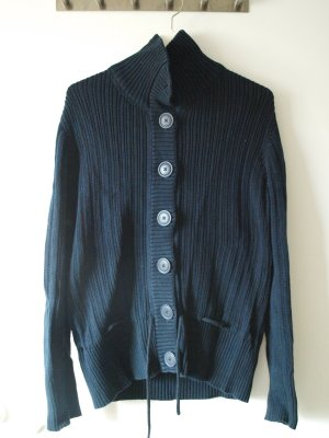 H&M Coarse Knitted Jacket dark blue cotton