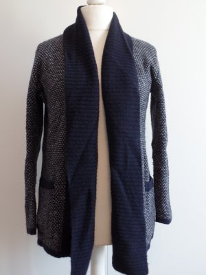 blaue Strickjacke mit Schalkragen von Mango, Gr. M