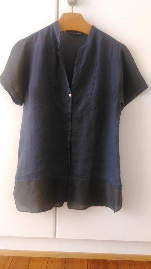 Blaue TRUSSARDI Bluse im Farben/Stoffmix aus Italien