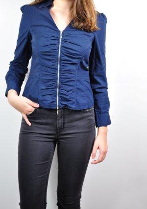 Blaue / Türkisfarbene langärmelige Bluse mit Reißverschluss