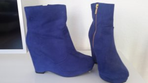 Blaue verlours Keilabsatz Stiefeletten