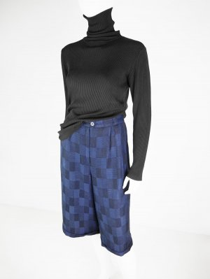 Falda pantalón de pernera ancha negro-azul Algodón