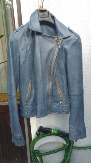 Blaue vintage Lederjacke