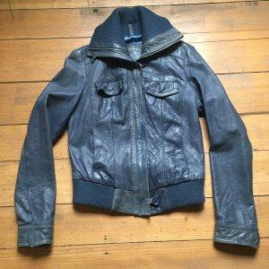 Blaue Vintage Lederjacke, Gr. 36/38