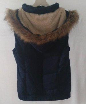 Even & Odd Hooded Vest taupe-dark blue cotton