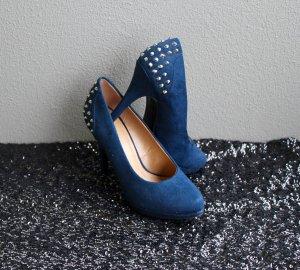 Blaue Wildleder Pumps / Nieten / High Heels / Party / Hochzeit / Feiern