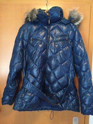 Blaue Winterjacke mit Echtdaunen und Echtpelz