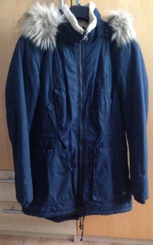 Blaue Winterjacke mit Fellkapuze Größe S ONLY