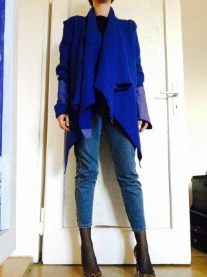 Blaue Woll Jacke mit Lederderails