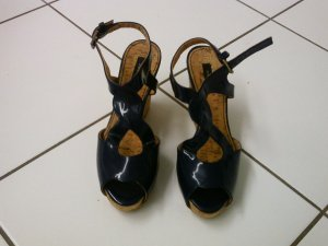 Zara Wedge Sandals dark blue leather