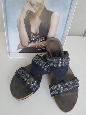 blaue Zehen Sandalen mit Steinchen Gr. 38