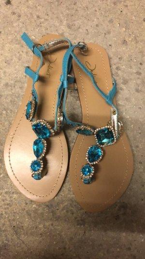 Blauen Sandalen mit Glitzersteinen