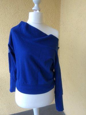 Blauer Adidas Pullover U-boot-Ausschnitt