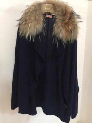 Blauer Cashmere Cardigan mit Echtpelzkragen