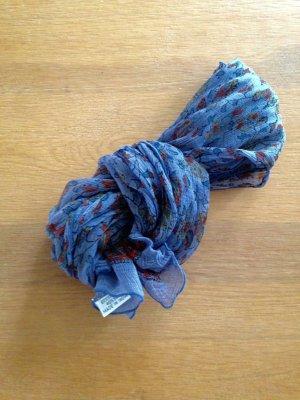 Blauer Crep-Schal mit Muster