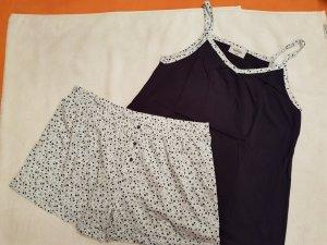 Blauer Damen Pyjama kurz Nachtwäsche Top+Hose von Gina Benotti, Gr. 44 / 46
