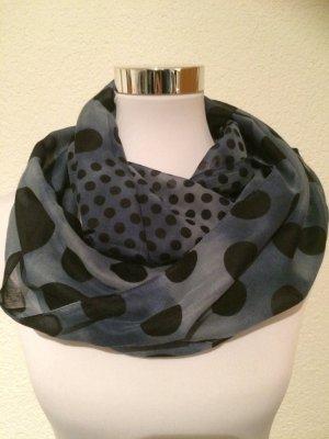 blauer durchsichter Schlauchschal / Loopschal / Schal mit schwarzen Punkten
