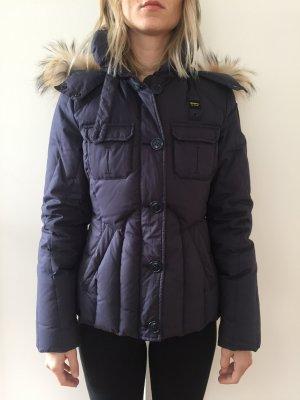 Blauer echte Daunenjacke / Winterjacke mit Echtpelz an Kapuze