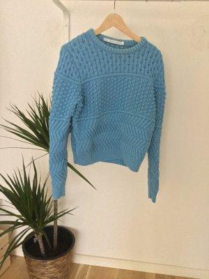 Blauer Grobstrick Pullover