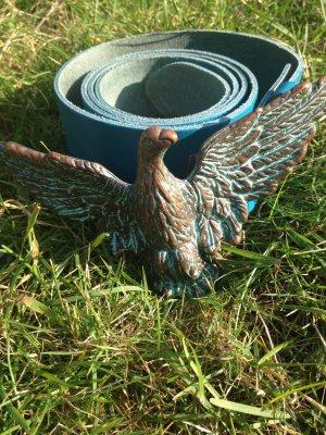 blauer Gürtel von Hüftgold 95cm mit trendiger Adler Schließe