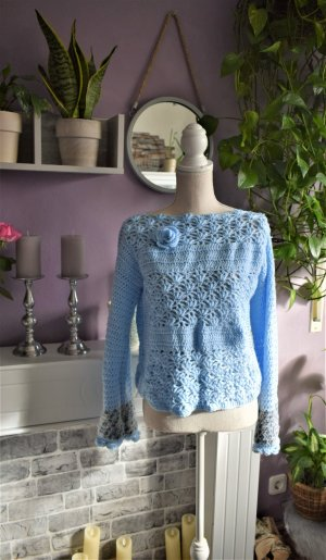 Blauer Hakel Pulli,Handmade Strick Pullover Boho Baby Blue Crochet Top