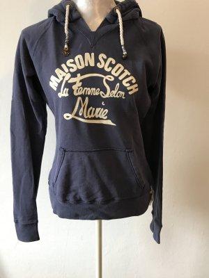 Maison Scotch Jersey con capucha azul oscuro-blanco Algodón