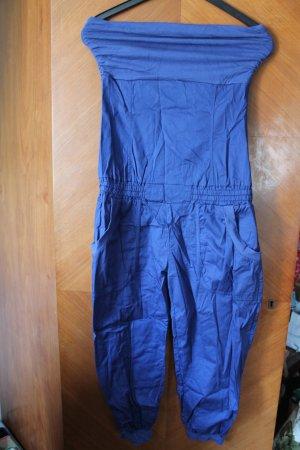 blauer Jumpsuit Einteiler Overall trägerlos