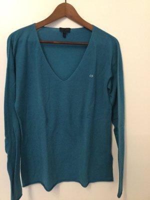 Blauer Kaschmir-Pullover mit Strass-Logo von ESCADA Sport in Größe L