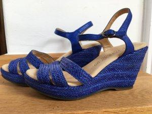 Blauer Keilsandaletten - Bioleder