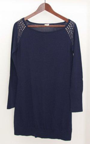 Blauer langer Pullover mit Nieten