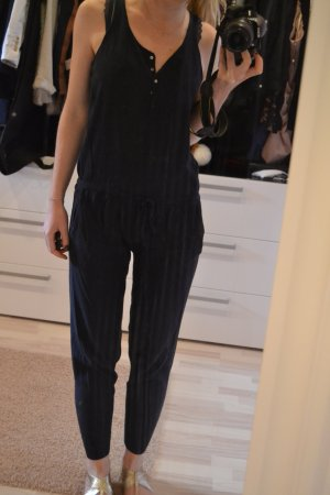 Blauer Leinen-Jump-Suit von Stefanel Gr. S