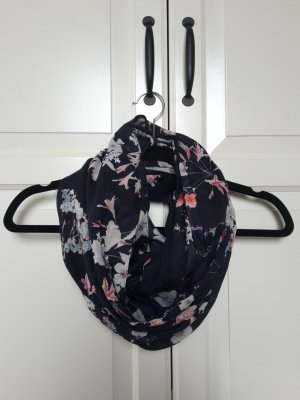 Blauer Loop-Schal mit Blumenmuster