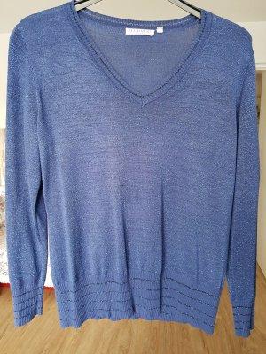 Blauer Lurexpullover Gr. 42 kaum getragen von Bluhmod Langarm V-Ausschnitt