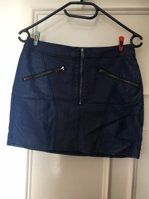 H&M Leather Skirt steel blue