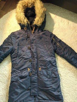 Bershka Abrigo azul oscuro