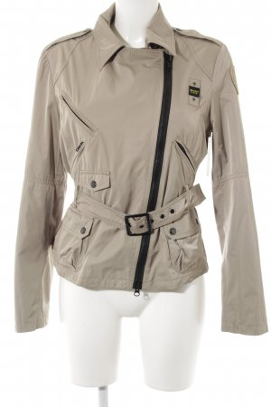 Blauer Outdoorjacke sandbraun Webmuster Casual-Look