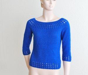 blauer Pullover, 3/4 Arm, schönes Lochmuster * * HANDGESTRICKT * *