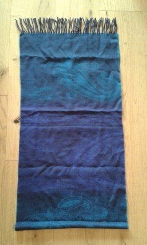 Blauer Schal mit Paisleymuster 100% Wolle