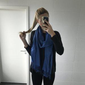 blauer Schal Tuch mit Fransen